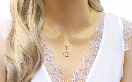 Gold Angel Pendant - IZ7505 - on a mannequin