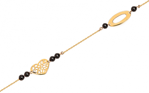 Gold bracelet with pendants and black zircons - IZ15636