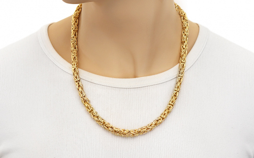 Gold chain royal pattern 5mm - IZ6309 - on a mannequin
