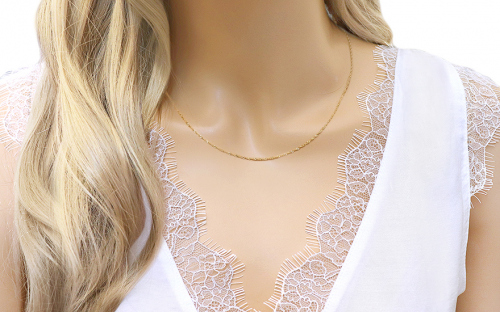 Gold chain Singapore 1 mm - IZ2747 - on a mannequin