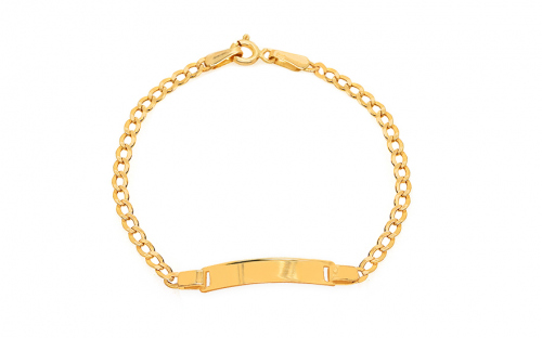 Gold children's bracelet with plate - IZ10537