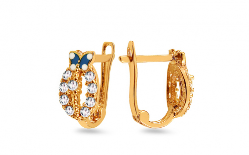 Gold Children's earrings with butterfly - IZ4986