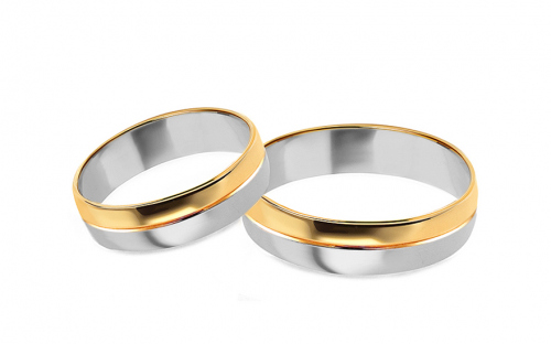 Gold combined wedding rings, width 4 to 9 mm - SKOB016V