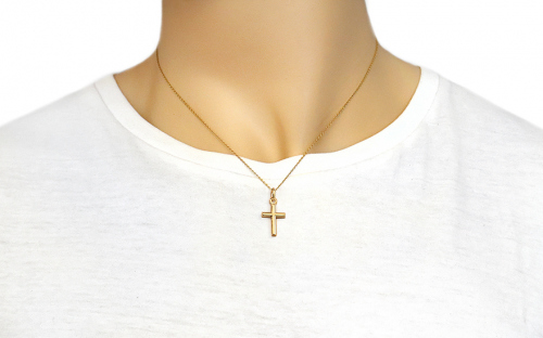 Gold cross pendant - IZ16222L - on a mannequin