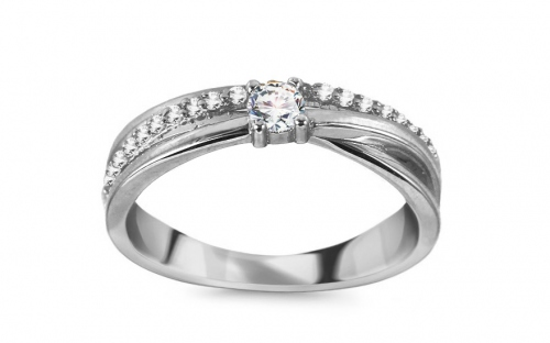 Gold Cubic Zirconia Engagement Ring - CSRI3022A