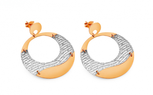 Gold two-tone loop earrings 3 cm - IZ9PA040