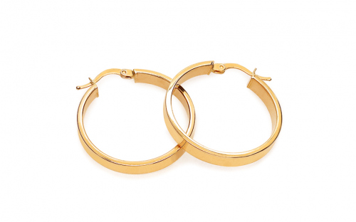 Gold two-tone loop earrings 3 cm - IZ18272