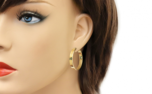 Gold two-tone loop earrings 3 cm - IZ18272 - on a mannequin