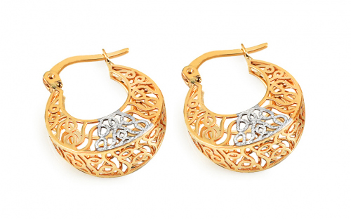 Gold round weaved earrings - IZ11389