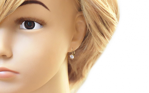 Gold Earrings with Stone - IZ7370 - on a mannequin