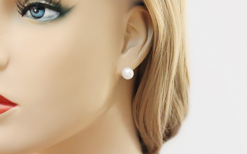 Gold Earrings with White Pearls - PE227