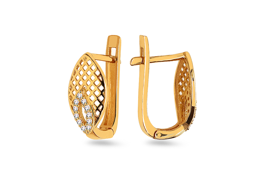 Gold earrings with zircon - IZ10383