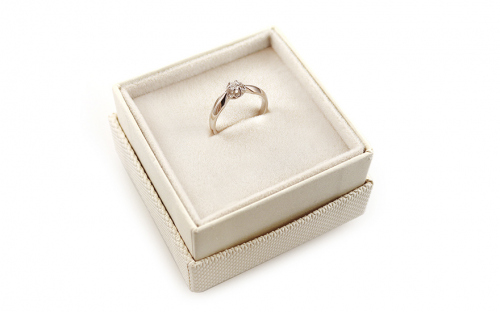 Gold Engagement Ring Ramona 6 white - CSRI928A - in a box