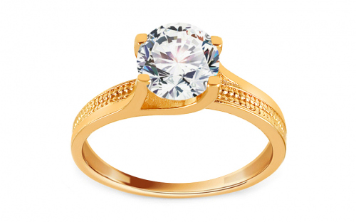 Gold Engagement Ring with Zircon Abigail - CSRI1943