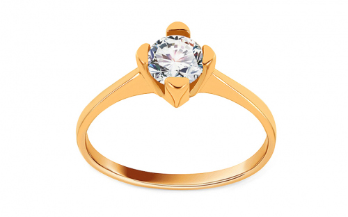Gold Engagement Ring with Zircon Madilyn - IZ11302