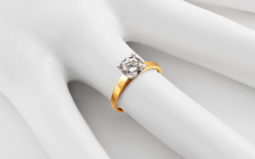Gold Engagement Ring with Zircon Sabine - CSRI3011