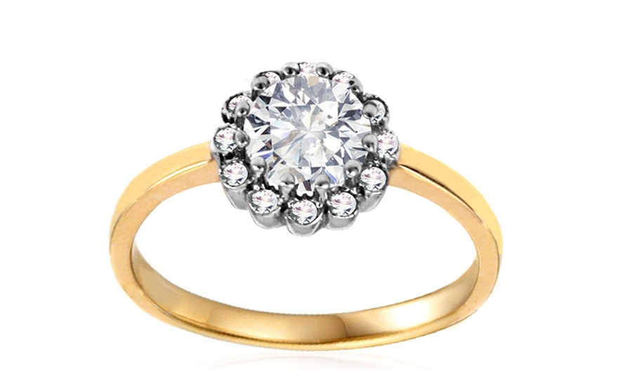 Gold Engagement Ring with Zircons Dulce - IZ10634
