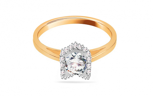 Gold Engagement Ring with Zircons Magic 9 - CSRI2054