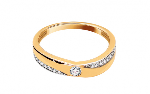 Gold Engagement Ring with Zircons Mallorie - IZ13737