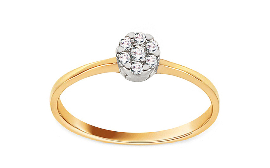 Gold engagement ring Princess 17 with Cubic Zirconia - CSRI2065