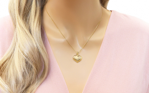 Gold Engraved Heart Pendant - IZ9925 - on a mannequin