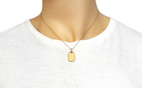 Gold Engraving Plate Pendant - IZ9904 - on a mannequin