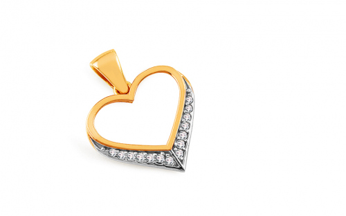 Gold Heart with Zircons - IZ8915