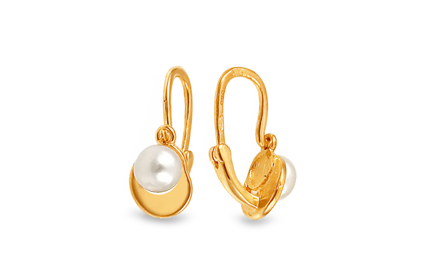 Gold Kids Earrings with Fine Pearl - 1-235-0256