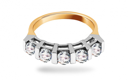 Gold ladies ring with cubic zirconia - IZ740