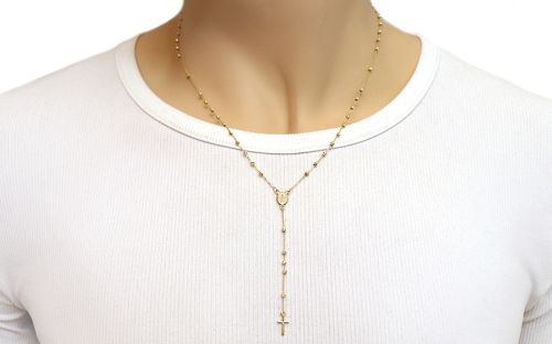 Gold necklace rosary - IZ18035 - on a mannequin