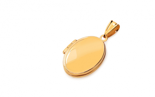 Gold oval photo medallion with ornamental pattern - IZ17289