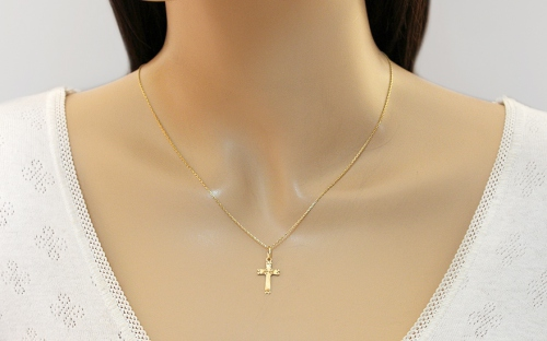 Gold Pendant Cross Engraved - IZ11878