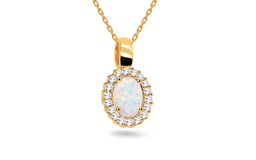 Gold Pendant with Opal and Zircons - IZ16249P