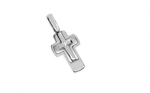 Gold pendant cross with zircon - IZ8720A