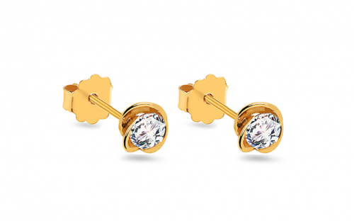 Gold floral stud earrings with zircon - 9IZ089