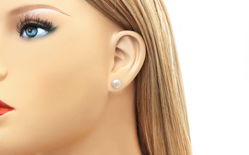 Gold Pink Pearl Earrings - PE10 - on a mannequin
