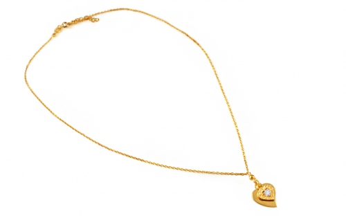 Gold plated necklace heart with cubic zirconia