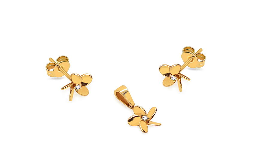 Gold set with zirconia flowers - IZ14237
