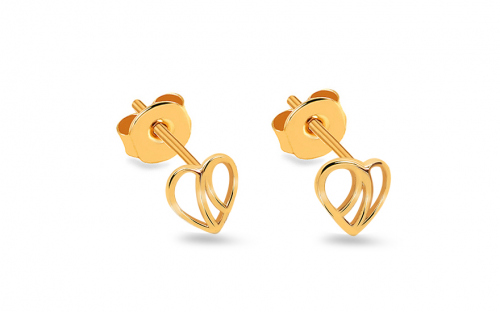 Gold Stud Earrings Hearts - IZ13959