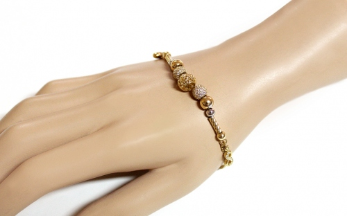 Gold Two Toned Bracelet with Charms and Zircons Palmyra - IZ13383
