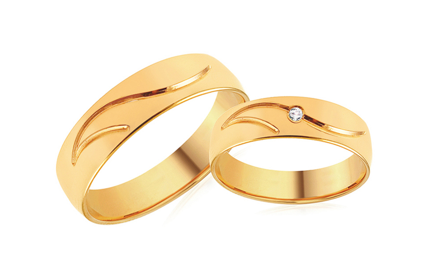 Gold Wedding Bands with Zircon width 4 to 8 mm - SKOB051V