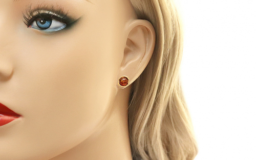 Golden Earrings with Amber - IZ8362