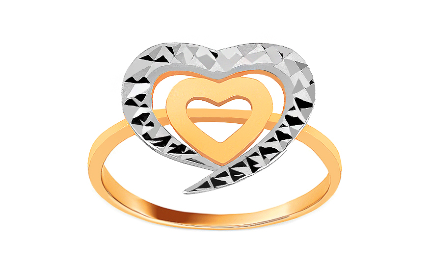 Two tone gold ring with hearts - IZ8607
