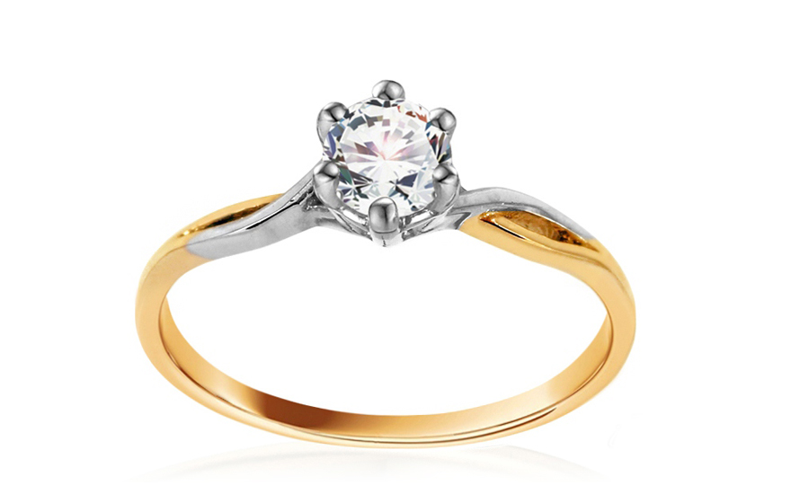 Golden Engagement Ring Diane 2 with Cubic Zirconia for women