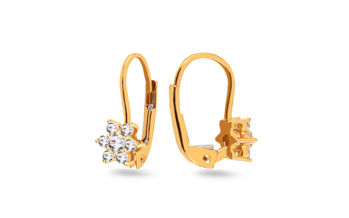 Gold Girls Earrings Flower with Zircons - IZ11923L