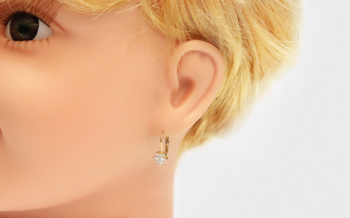 Gold Girls Earrings Flower with Zircons - IZ11923L - on a mannequin