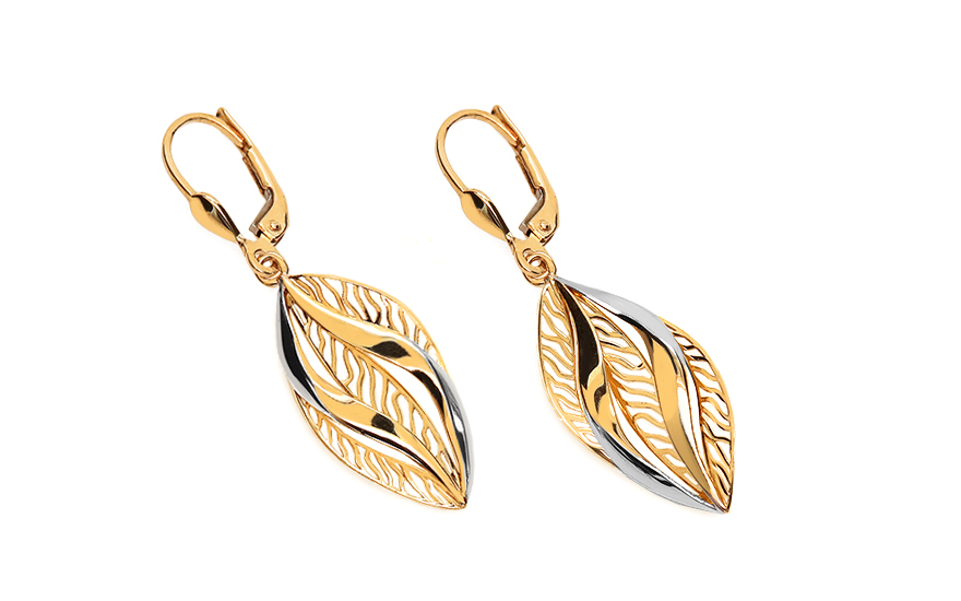 Two-tone Gold hanging earrings with pattern - IZ11387