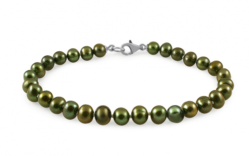 Ladies Green pearl bracelet