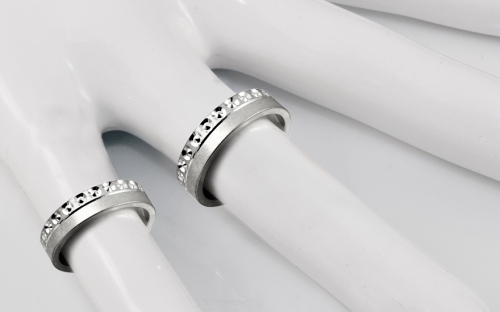 Rhodium plated sterling silver Matt engagement rings - STOB126AG - on a mannequin