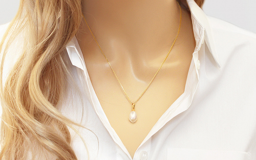 Natural Pearl Gold Pendant - PE193